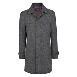 Black & Grey Erne Herringbone Raglan Coat