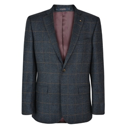 Grey Checked Donegal Tweed Classic Fit Jacket