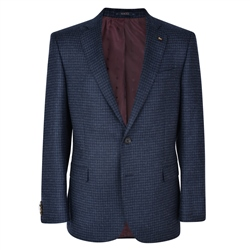Navy Checked Donegal Tweed Classic Fit Jacket
