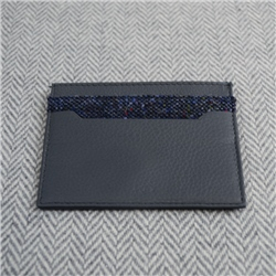 Navy Donegal Tweed Salt & Pepper Magee Card Holder