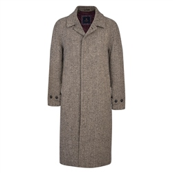 Black and Pale Camel Donegal Tweed Corrib Quilted Raglan Coat