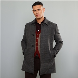 Grey Edergole Houndstooth Check Donegal Tweed Coat