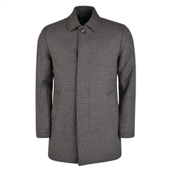 Magee 1866 Grey Edergole Houndstooth Check Donegal Tweed Coat