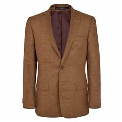 Magee 1866 Brown Houndstooth Checked Donegal Tweed Classic Fit Jacket