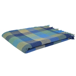 Magee 1866 Blue, Green & Yellow Lambswool Patchworks Throw