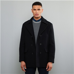 Navy Fintra Herringbone Donegal Tweed Peacoat