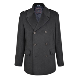 Magee 1866 Charcoal Fintra Houndstooth Check Peacoat