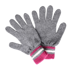 Magee 1866 Cashmere Blend Gloves in Grey, Fuchsia and White