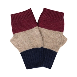 Magee 1866 Cashmere Blend Mitten's in Navy, Maroon and Beige
