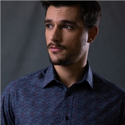 Magee 1866 Navy Dunross Floral Print Tailored Shirt