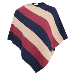 Magee 1866 Navy, Red & Beige Leah Stripe Poncho