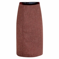 Magee 1866 Raspberry Dana Herringbone Donegal Tweed Skirt