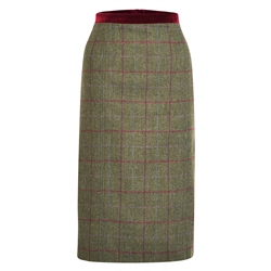 Magee 1866 Green Dana Country Check Donegal Tweed Skirt