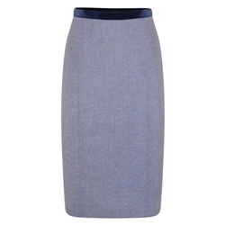 Magee 1866 Blue Dana Herringbone Donegal Tweed Pencil Skirt