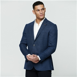 Navy Grid Design Classic Fit Jacket