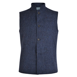 Navy Cavan Donegal Tweed Salt & Pepper Gilet