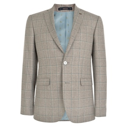 Magee 1866 Beige & Teal Windowpane Check Tailored Fit Jacket