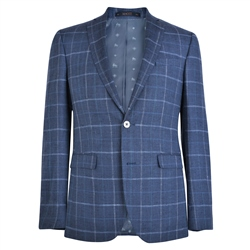 Magee 1866 Blue Windowpane Check Donegal Tweed Tailored Fit Jacket