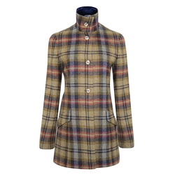 Multicoloured Linsford Checked Donegal Tweed Coat