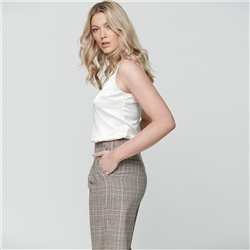 Multicoloured Willow Checked Donegal Tweed wide leg trousers