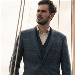 Navy Check Donegal Tweed Classic Fit Jacket