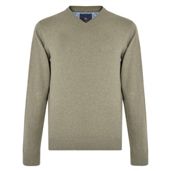 Magee 1866 Taupe Carn Cotton V Neck Jumper