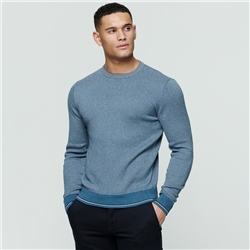 Magee 1866 Light Blue Cashelenny Birdseye Crew Neck Jumper