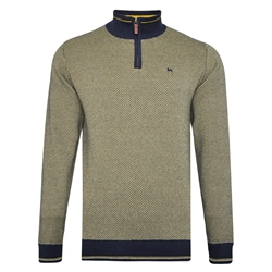 Magee 1866 Yellow Cashelenny Birdseye Cotton 1/4 zip Jumper
