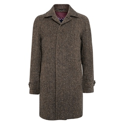 Brown/Navy Erne Herringbone Donegal Tweed Raglan Coat
