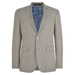Oat & Blue Herringbone Donegal Tweed Tailored Fit Jacket