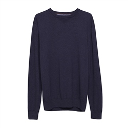 Carn Cotton Crew Neck Jumper in Navy