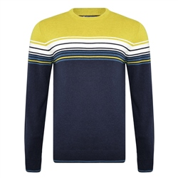 Magee 1866 Navy and Chartreuse Termon Striped Cotton Crew Neck Jumper