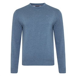 Magee 1866 Teal Carn Cotton Crew Neck Jumper
