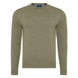 Magee 1866 Taupe Carn Cotton Crew Neck Jumper