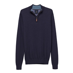 Carn Cotton ¼ Zip Jumper in Navy
