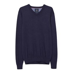 Magee 1866 Carn Cotton V-Neck Jumper in Navy