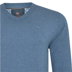 Teal Carn Cotton V Neck Jumper