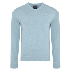 Magee 1866 Blue Carn Cotton V Neck Jumper