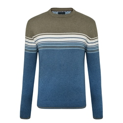 Magee 1866 Teal & Taupe Termon Striped Cotton Crew Neck Jumper