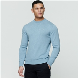 Magee 1866 Blue Carn Cotton Crew Jumper