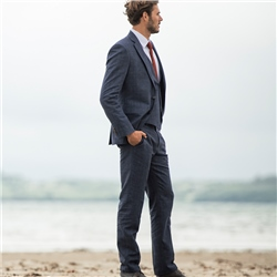 Navy Linen Blend Prince of Wales Check 3-Piece Tailored Fit Suit
