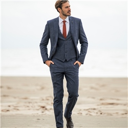 Magee 1866 Navy Linen Blend Prince of Wales Check 3-Piece Tailored Fit Suit