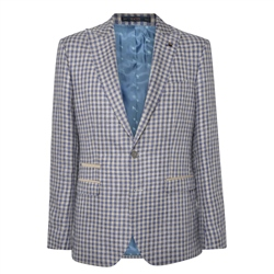 Magee 1866 Oat & Denim Blue Gingham Check Tailored Fit Jacket
