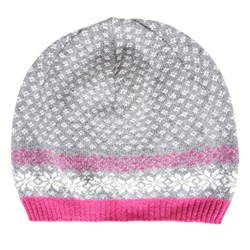 Magee 1866 Cashmere Blend Beanie Hat in Grey, Fuchsia and White