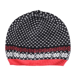 Magee 1866 Cashmere Blend Beanie in Black, Red and White