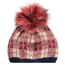 Magee 1866 Cashmere Blend Beanie Hat in Navy, Maroon and Beige