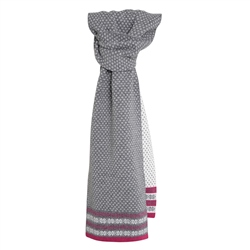 Magee 1866 Cashmere Blend Scarf in Grey, Fuchsia and White