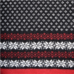 Cashmere Blend Scarf in Black, Red and White