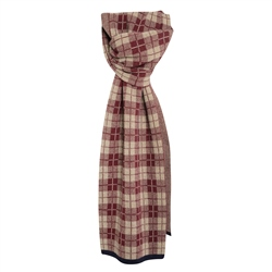 Magee 1866 Cashmere Blend Scarf in Navy, Maroon and Beige