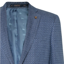 Blue Geometric Houndstooth Donegal Linen Tailored Fit Jacket